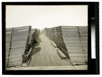 Stacks of lumber appearing to slant toward each other by Augustus William Ericson